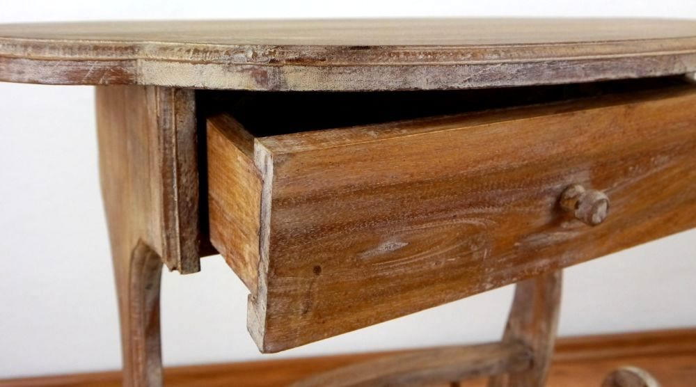 Teak wood telephone table with newspaper rack handmade for 10 inch depth console table