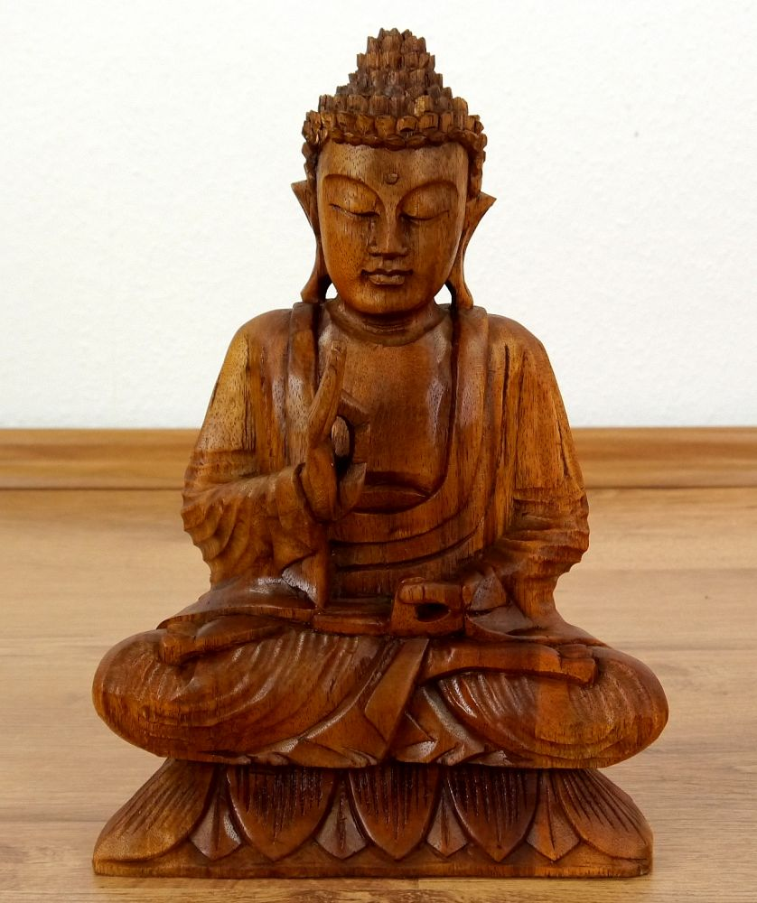 Bali buddha statue spiritual asian god ornate wooden for Buddha statue holz