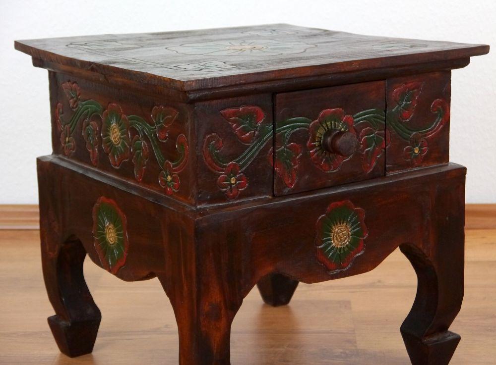 Opiumtisch aus bali beistelltisch nachttisch dekoration for Dekoration nachttisch