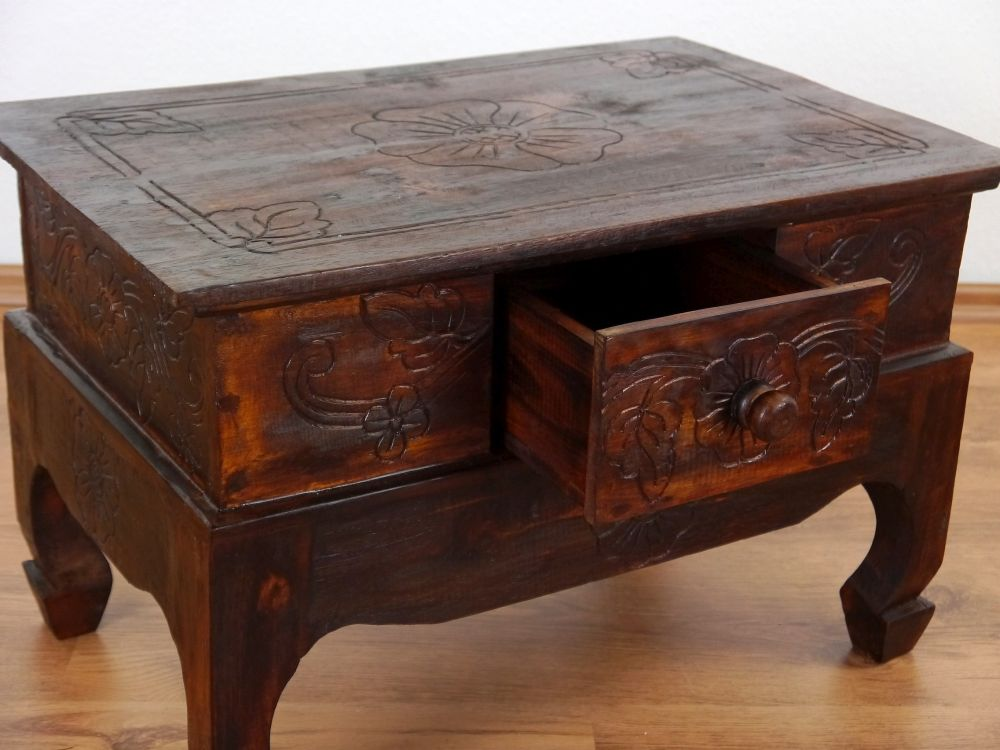Brauner opiumtisch mit schublade bali nachtschrank for Couchtisch asia