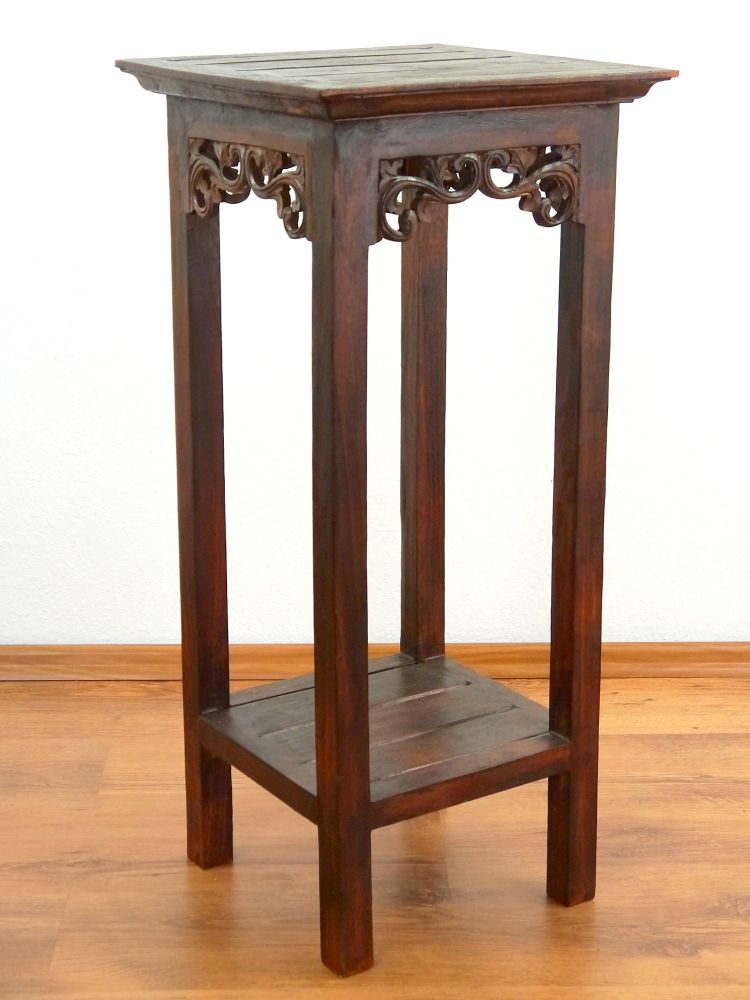 Asian Side Table Plant Stand Beautiful Carving Handmade: beautiful end tables
