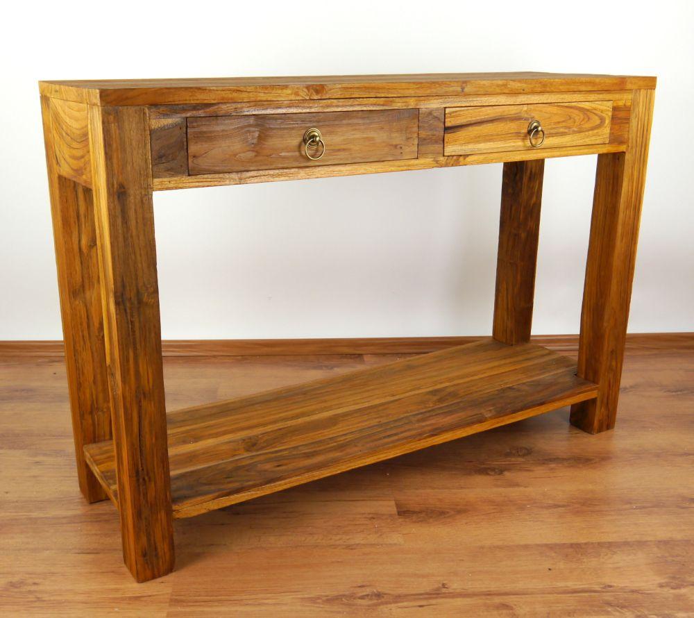 java teakholz anrichte mit ablage konsolentisch sideboard beistelltisch ebay. Black Bedroom Furniture Sets. Home Design Ideas