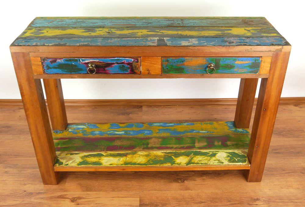 Anrichte mit ablage recyceltes teakholz bootholz java for Sideboard tisch