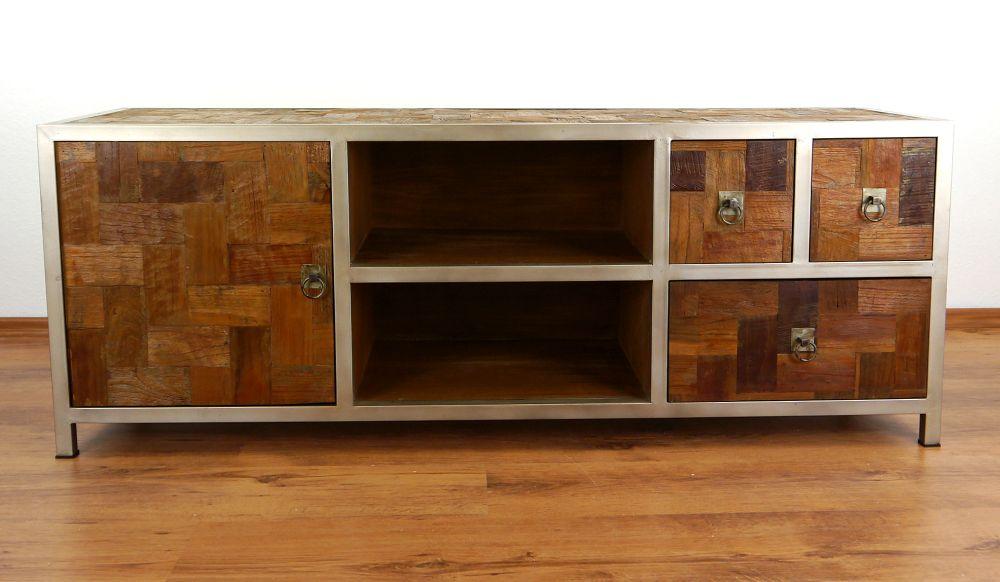 kommode aus metall und teakholz java tv schrank hifi tisch sideboard phonom bel ebay. Black Bedroom Furniture Sets. Home Design Ideas