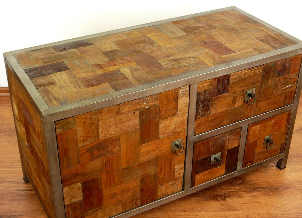 Teak Wood Buffet ~ Modern industrial design reclaimed teak wood sideboard