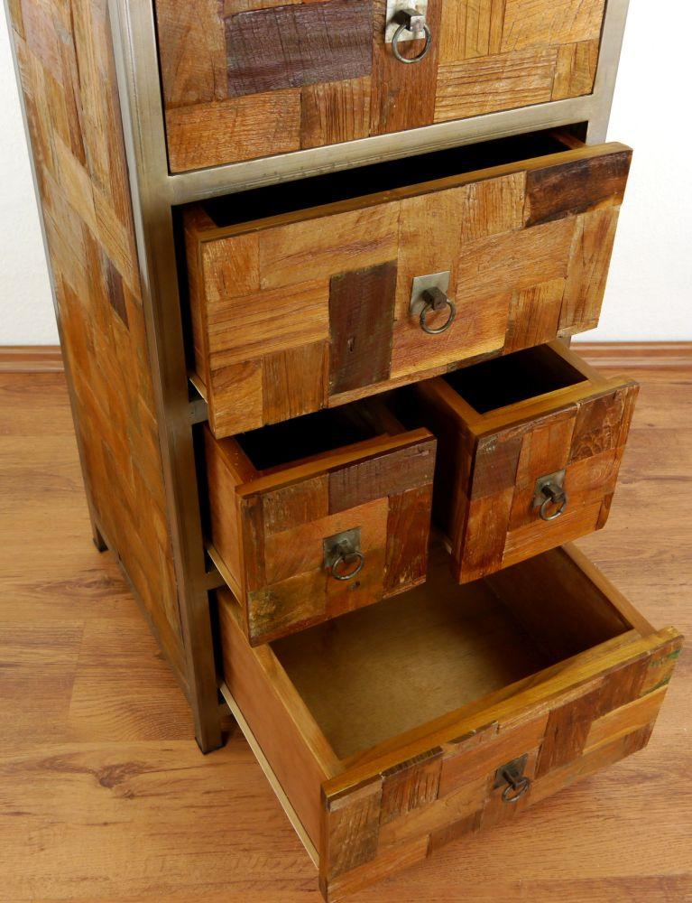 schrank aus metall und teakholz java kommode hochschrank garderobenschrank ebay. Black Bedroom Furniture Sets. Home Design Ideas