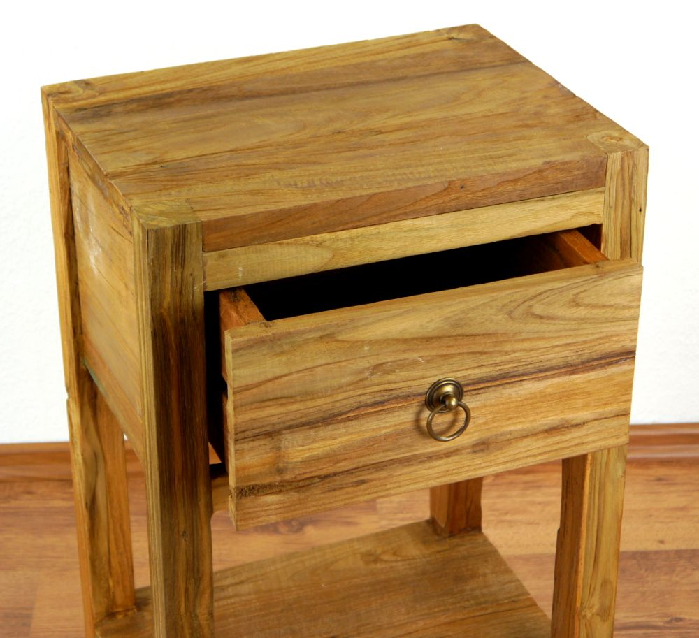 Reclaimed teak wood bedside table rustic look drawer for Buy reclaimed wood online