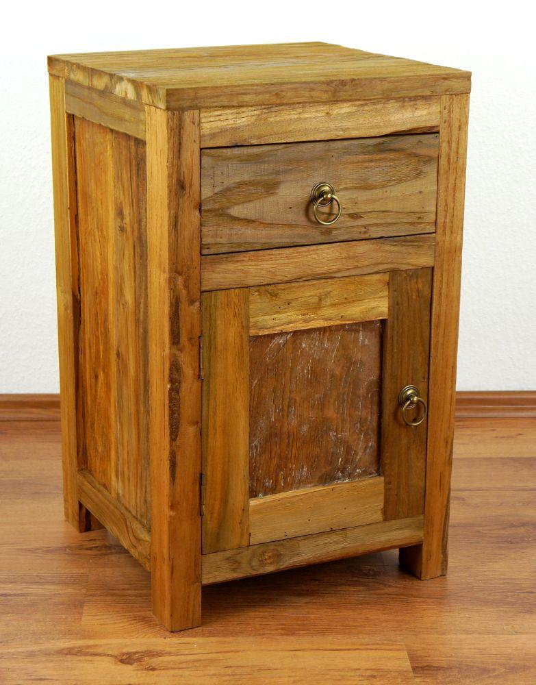 Rustic Wood Bedside Table: Reclaimed Teak Wood Bedside Table Rustic Look Small