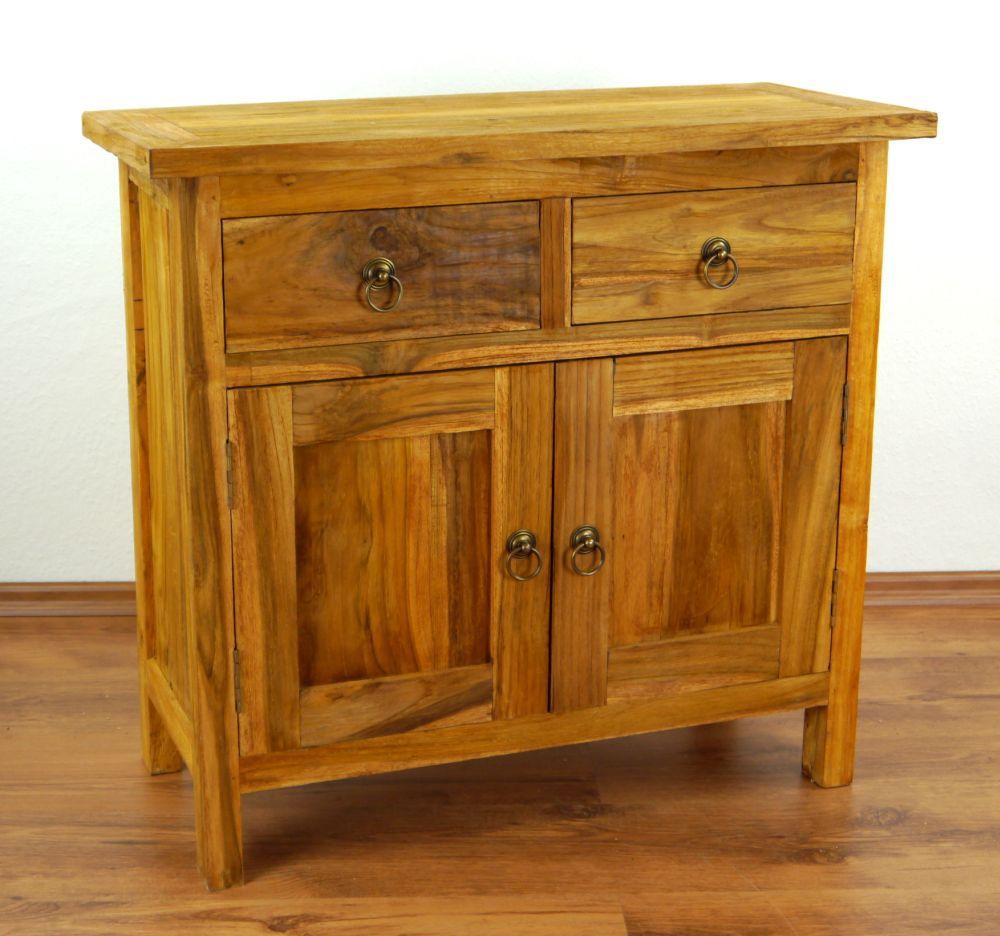 java teakholz rustikal sideboard 3 schubladen tv bank. Black Bedroom Furniture Sets. Home Design Ideas