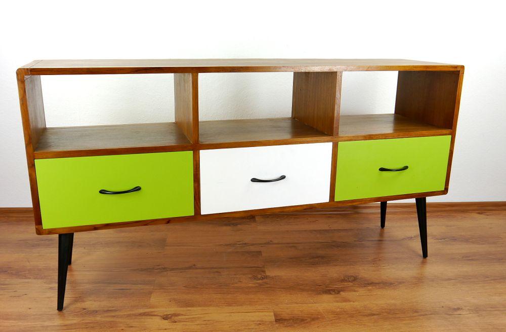retro sieboard aus teaholz 3 schubladen gr n wei java hifi bank phonoschrank 4260385126108. Black Bedroom Furniture Sets. Home Design Ideas