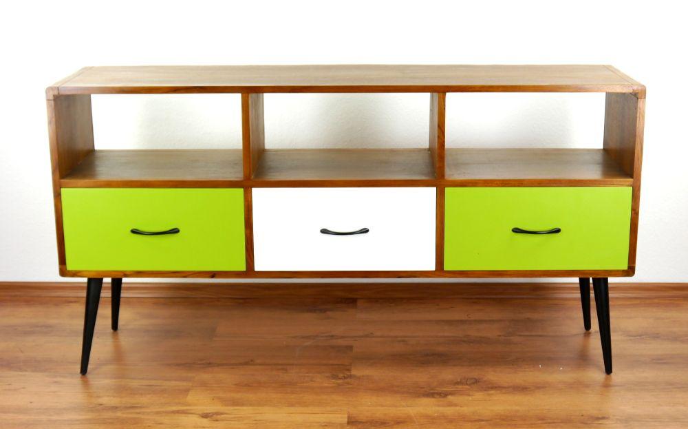 java retro sideboard gr n wei 3 schubladen hifi bank phonoschrank teakholz 4260446240521. Black Bedroom Furniture Sets. Home Design Ideas