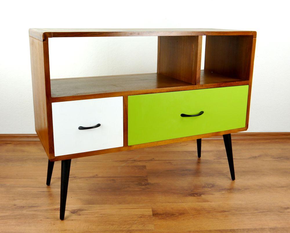 java retro sideboard gr n wei 2 schubladen phonoschrank teakholz hifi bank ebay. Black Bedroom Furniture Sets. Home Design Ideas