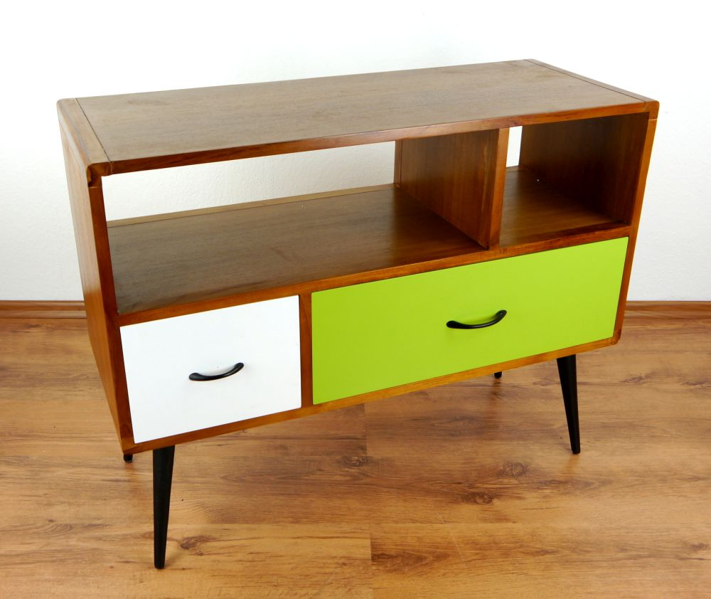 java retro sideboard gr n wei 2 schubladen. Black Bedroom Furniture Sets. Home Design Ideas