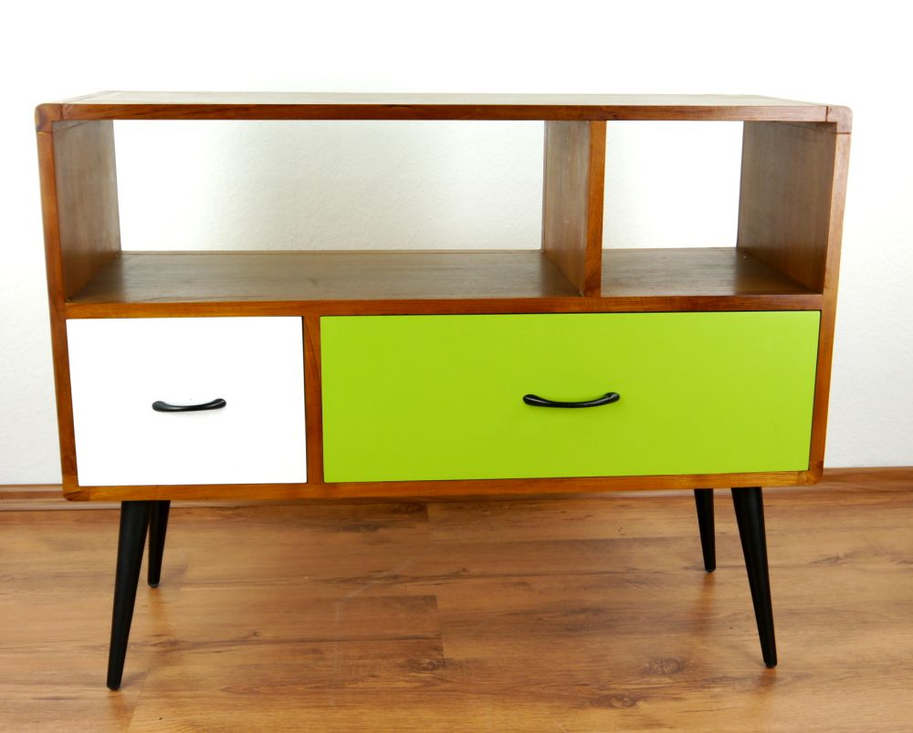 java retro sideboard gr n wei 2 schubladen phonoschrank teakholz hifi bank 4260446240538. Black Bedroom Furniture Sets. Home Design Ideas