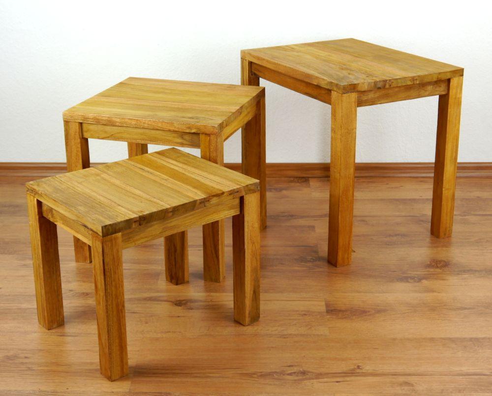 java tisch im 3er set aus teakholz beistelltisch. Black Bedroom Furniture Sets. Home Design Ideas