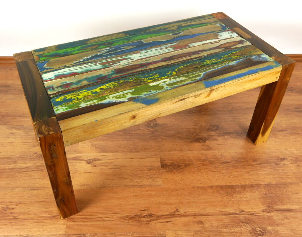 reclaimed teak wood coffee table coloured old boat wood