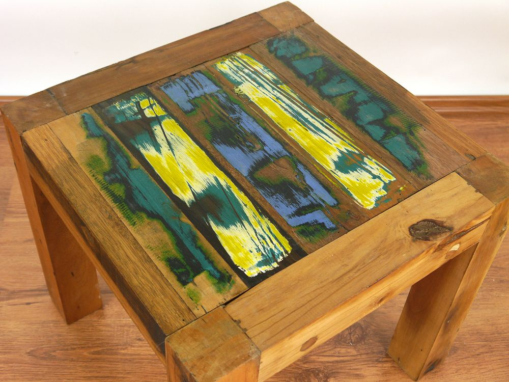 Reclaimed Teak Wood Coffee Table Colourful Old Boat Wood ...
