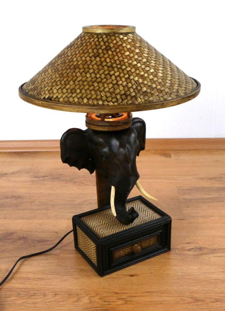 Tischlampe Mit Elefant Nachttischlampe Tischleuchte Holzlampe