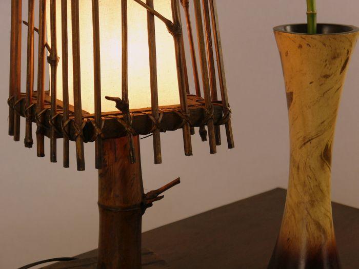 Handarbeit Asiatische Tischleuchte aus Bambus Tischlamüe,Nachttischlampe,Lampe