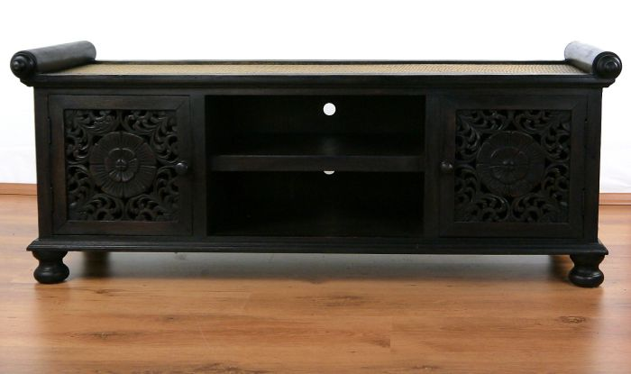 asiatisches rattan sideboard hifi tv kommode schnitzerei holz thai m bel ebay. Black Bedroom Furniture Sets. Home Design Ideas