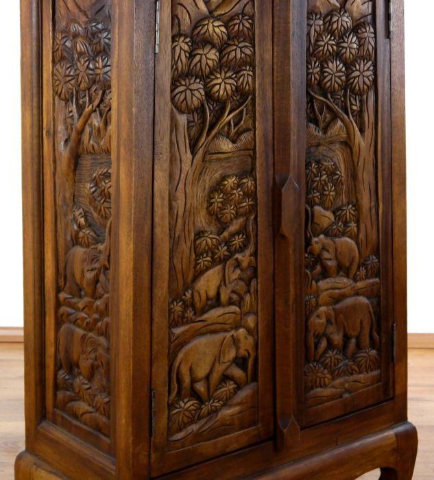 schr nke mit elefantenschnitzerei massivholz asia m bel thailand kommoden bali ebay. Black Bedroom Furniture Sets. Home Design Ideas