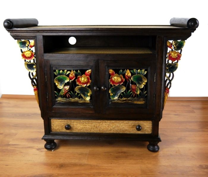 asiatischer hifi tv schrank sideboard holz schnitzerei. Black Bedroom Furniture Sets. Home Design Ideas