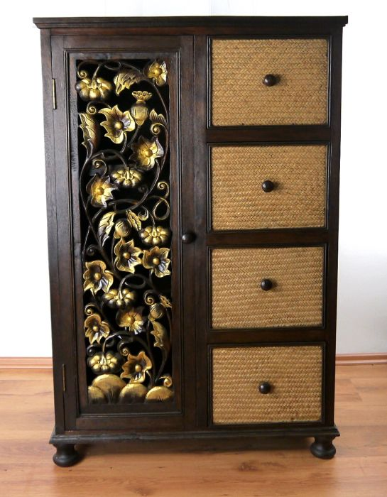 asiatischer rattanschrank kommode garderobenschrank. Black Bedroom Furniture Sets. Home Design Ideas