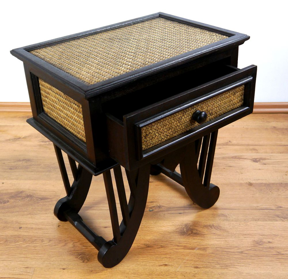 Asian rattan bedside table handmade thai drawer chest for Japanese bedside table