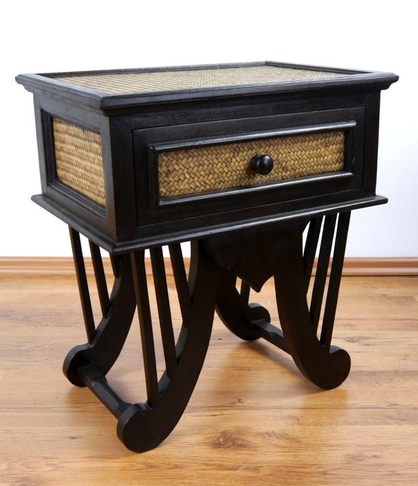 Asian Rattan Bedside Table Handmade Thai Drawer Chest