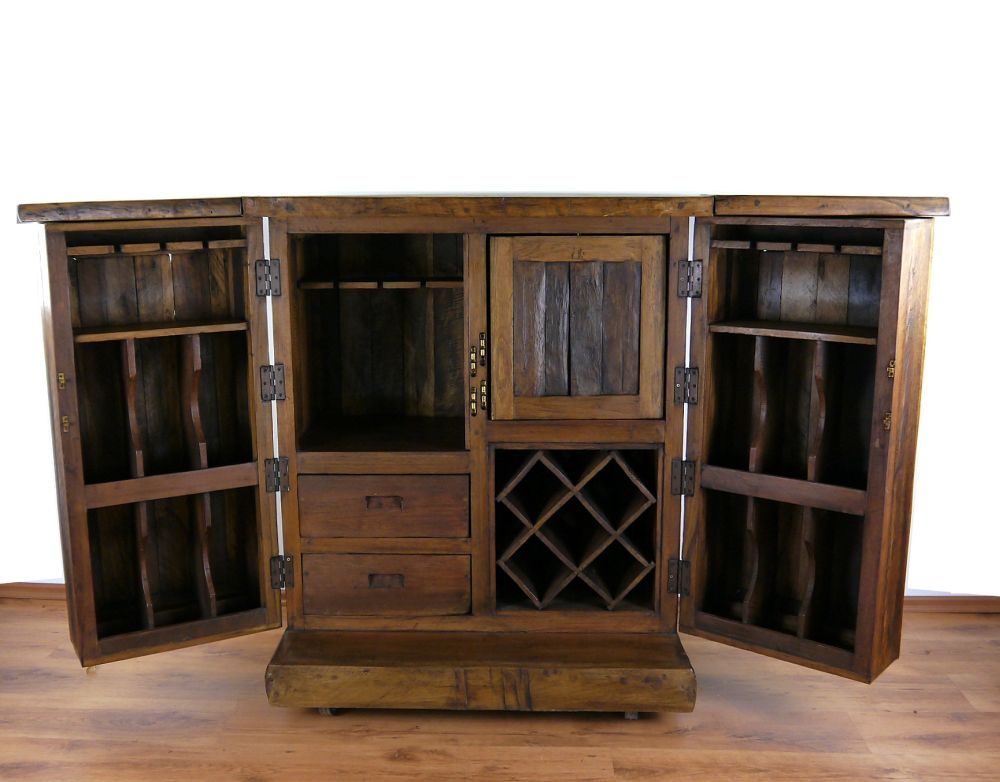 teakholz bar wein spirituosen schrank theke hausbar tresen 4260471053721 ebay. Black Bedroom Furniture Sets. Home Design Ideas