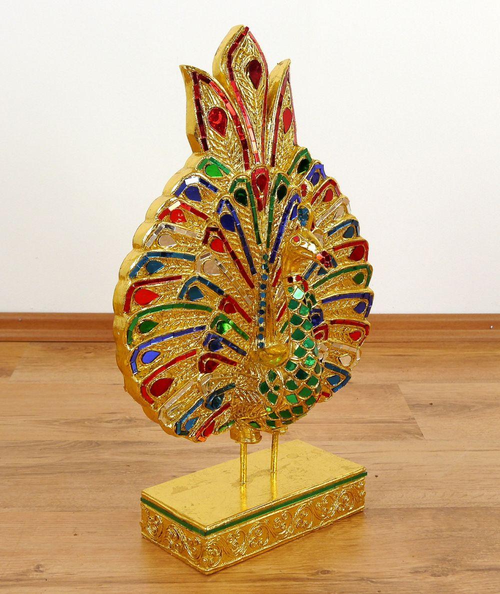 Goldfarbene Skulpturen Blatt Schwan Pfau Deko Figuren
