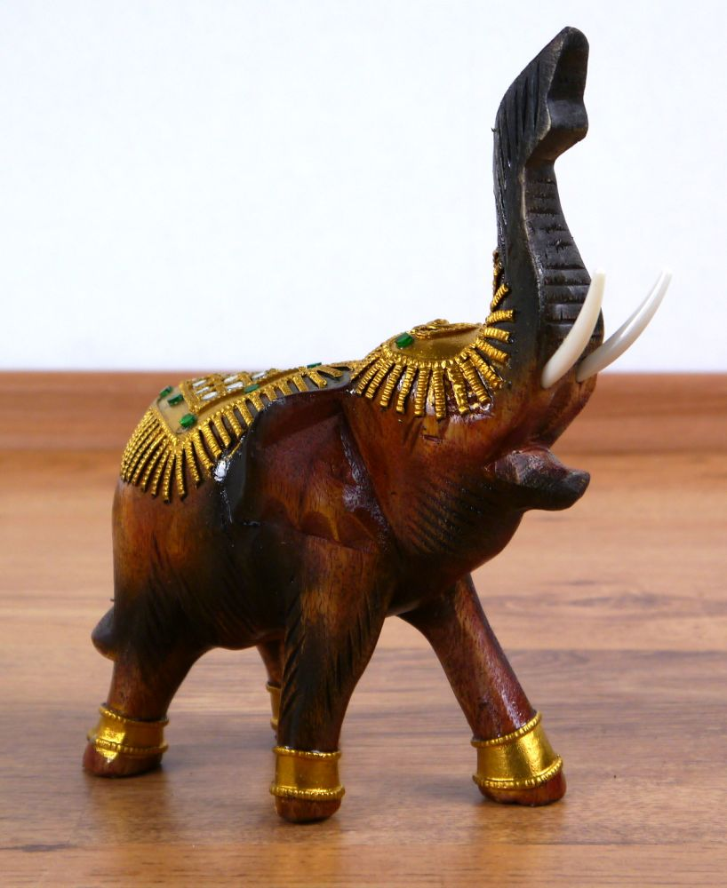 Wooden Elephant Statue Decorated Gold Colour Gems Raised Low Trunk Asia  Deco Ebay