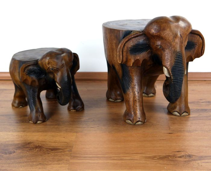 elefanten mit flachen r cken holzelefant podest skulptur deko hocker asia ebay. Black Bedroom Furniture Sets. Home Design Ideas