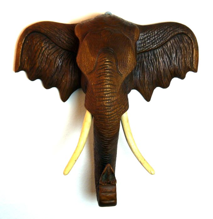 elefantenkopf 10kg 77cm holzelefant elefant aus holz skulptur figur deko asien ebay. Black Bedroom Furniture Sets. Home Design Ideas