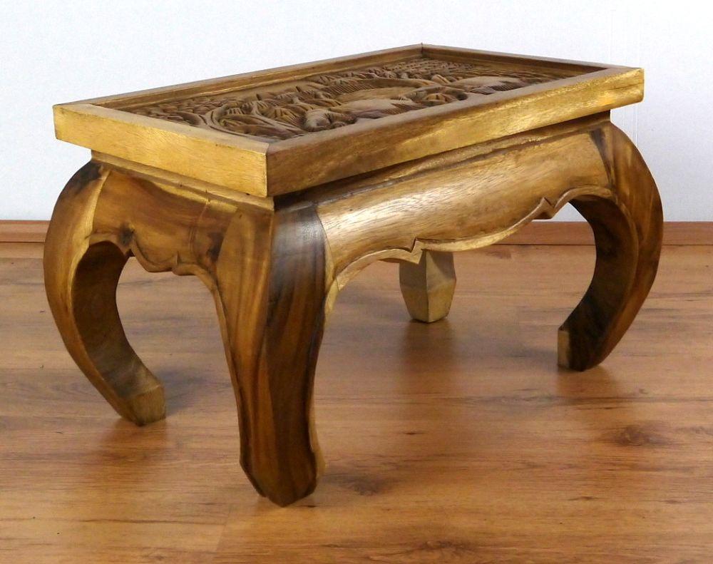 Asian Opium Table Coffee Elephant Carving Handmade