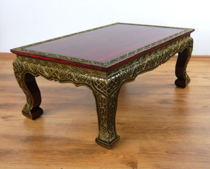 Asian opium coffee sofa table red glass mosaic style for Coffee tables 50cm wide