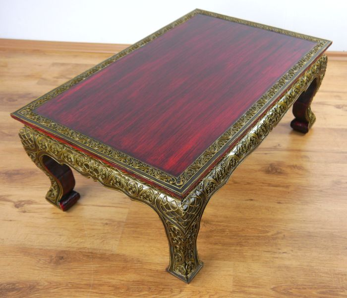 Glass Coffee Tables At Furniture Village: Asian Opium / Coffee / Sofa Table Red Glass Mosaic Style
