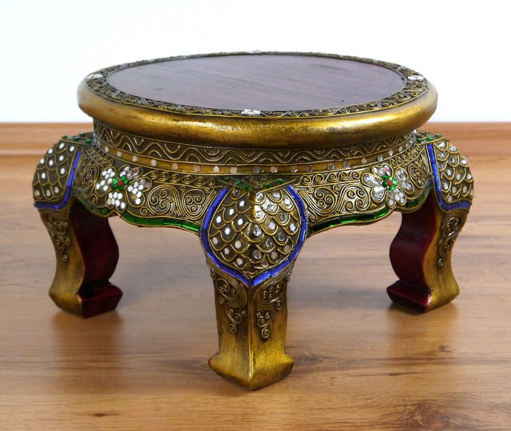 Small Round Asian Opium Table Glass Mosaic Look Coffee