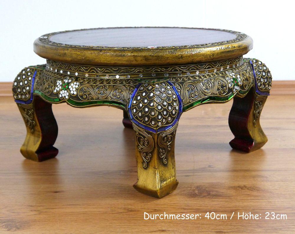 Opiumtisch rund glasmosaikverzierung beistelltisch for Indischer holztisch