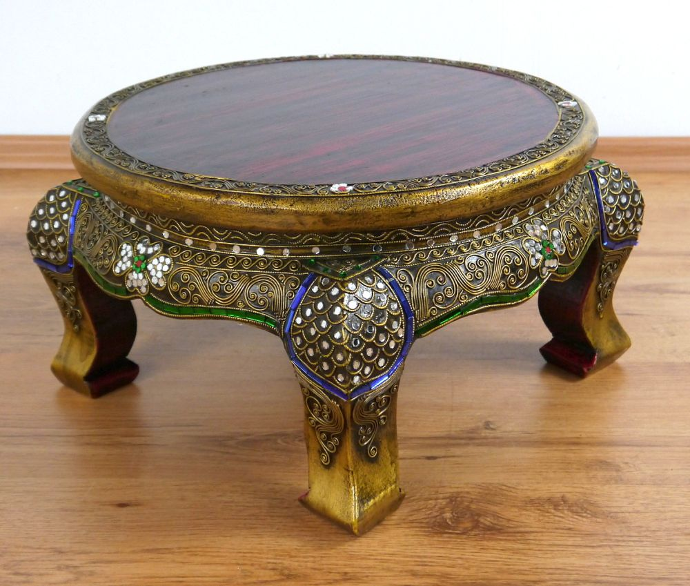 Oriental Glass Top Coffee Table: Small Round Asian Opium Table Glass Mosaic Look Coffee
