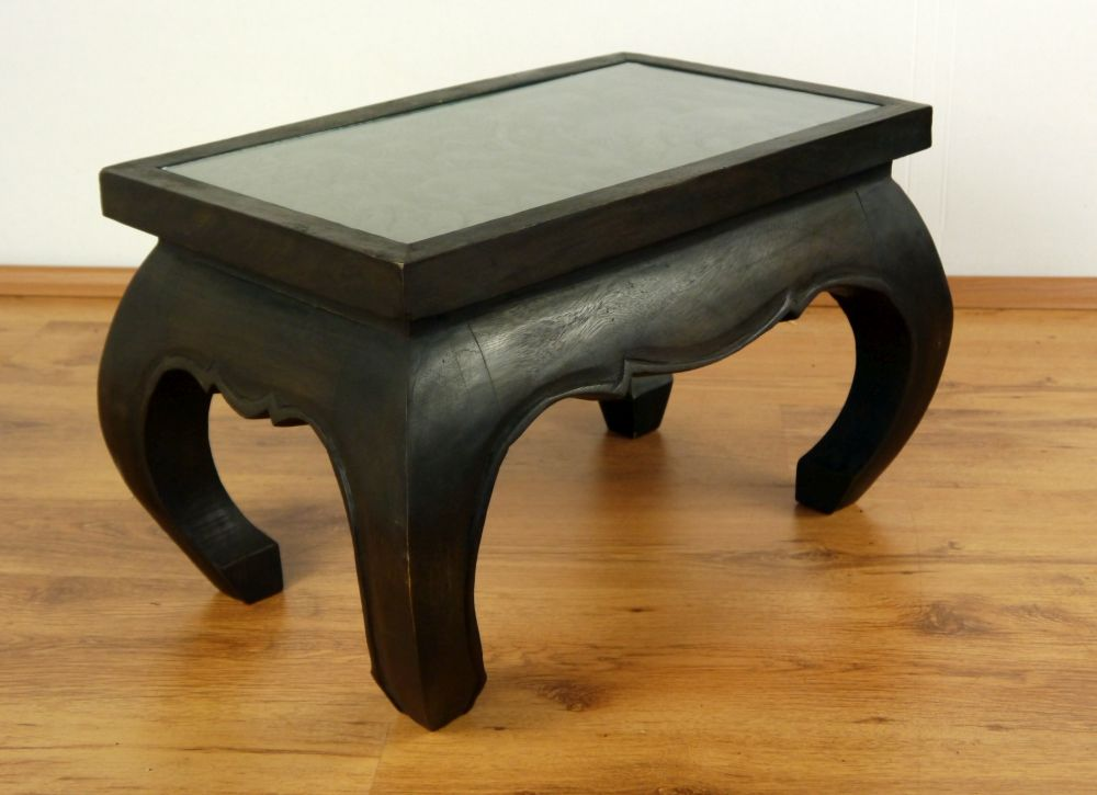 Asian opium table coffee table elephant carving handmade thailand glass top ebay Elephant coffee table