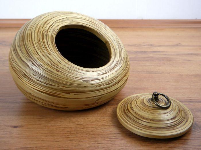 dekorative bambusschale aus thailand deko und aufbewahrungsbox mit deckel ebay. Black Bedroom Furniture Sets. Home Design Ideas