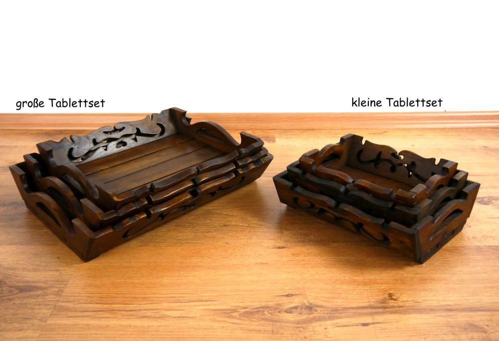 tablett aus holz im 3er set serviertablett dekoschale obst geb ckschale ebay. Black Bedroom Furniture Sets. Home Design Ideas