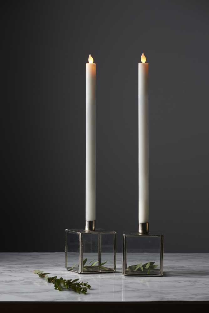 led stabkerzen 2 st ck twinkle wachs wei 6 18h timer 20. Black Bedroom Furniture Sets. Home Design Ideas