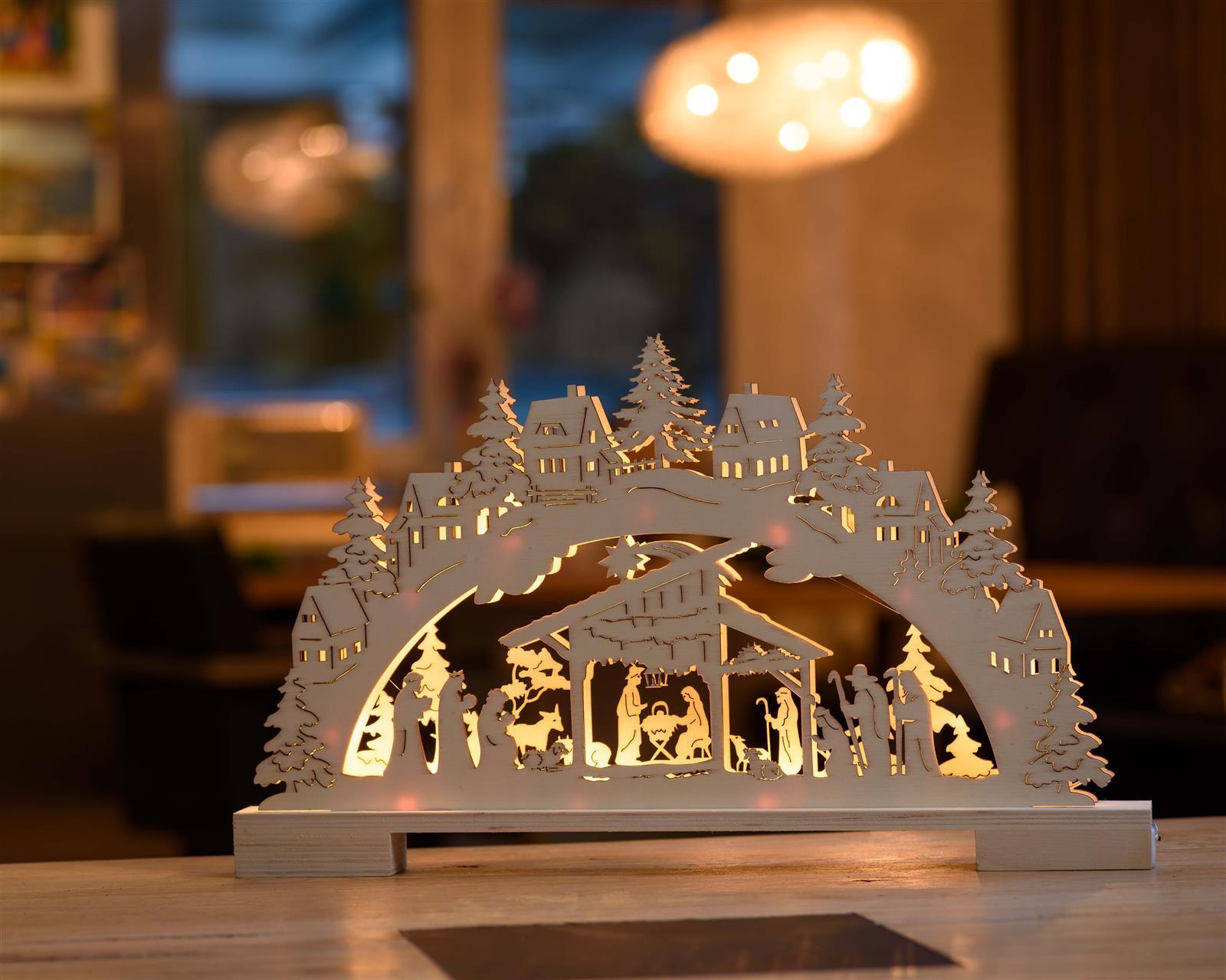 LED Lichterbogen Holz-Schwibbogen 10 Led warm-weiß Timer Krippe Weihnachts-Deko