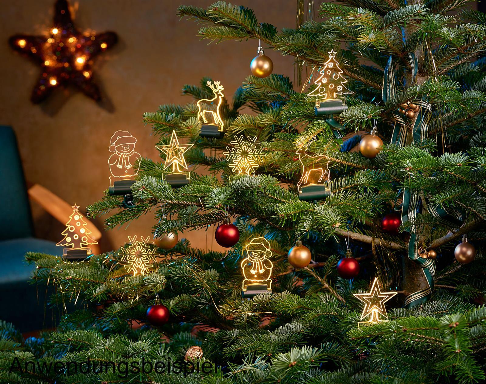 Acryl-Figuren Weihnachtsfiguren warm-weiß beleuchtet Weihnachtsbaum Deko Fenster