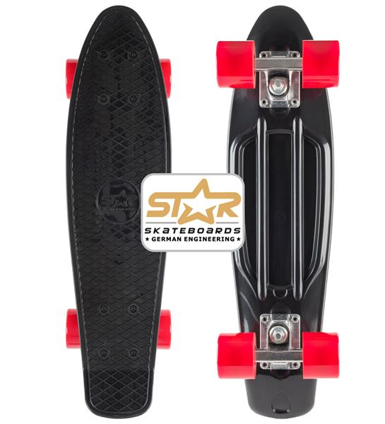SK-60-RT-01-BKRD Star-Skateboards Diamond Class Cruiser Skateboard Schwarz & Rot