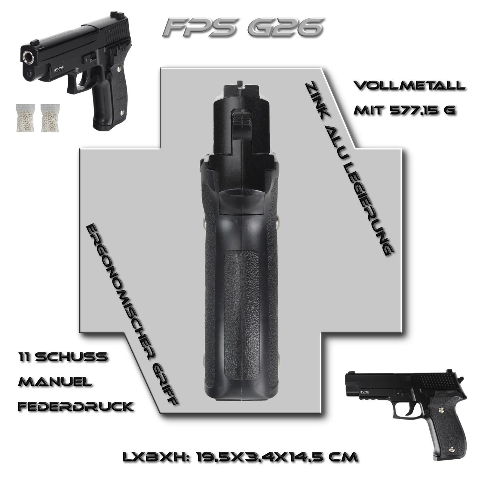 Softair Pistole Vollmetall Airsoft Gun Requisit Fps26 500x 0 2g Bb 6mm Schwarz Ebay