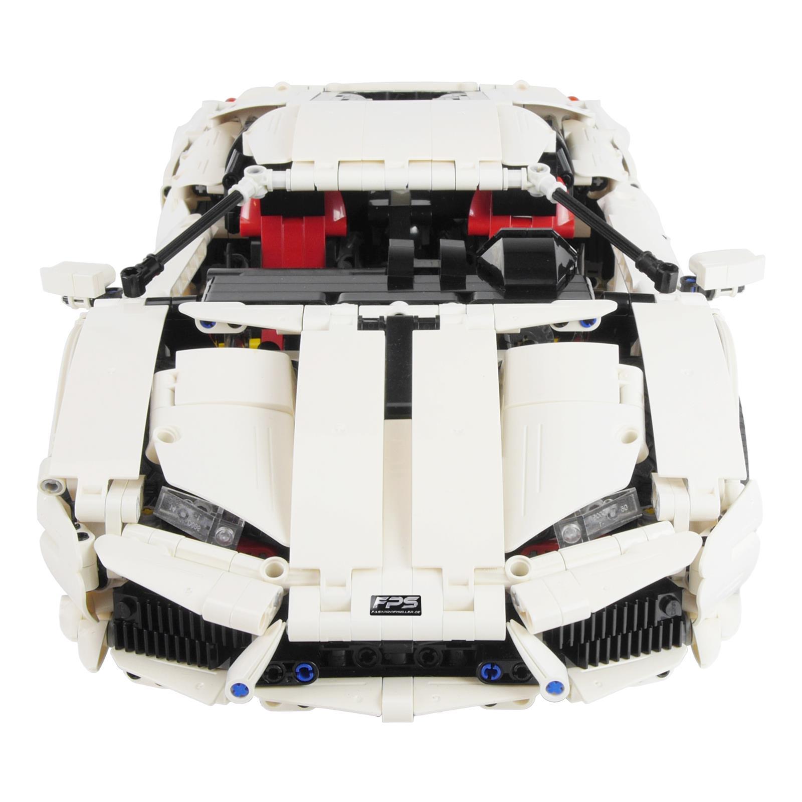 Klemmbaustein Rennwagen Weiß Front