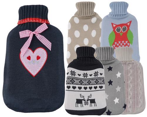 Caoutchouc bouillotte avec tricot tui housse 1 6 litre toiles points c ur ebay for Housse bouillotte tricot